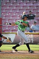 Aramis Ademan (15) of the Eugene Emeralds bats against the Salem-Keizer Volcanoes at Volcanoes Stadium on July 24, 2017 in Keizer, Oregon. Eugene defeated Salem-Keizer, 7-6. (Larry Goren/Four Seam Images)