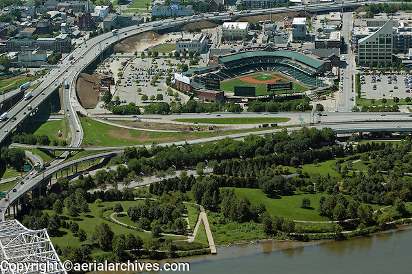 aerial photograph Louisville Riverwalk and Slugger Field, Louisville, Kentucky