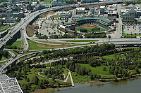 aerial photograph Louisville Riverwalk and Slugger Field, Louisville, Kentucky
