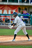 Cesar Galvez (21) of the Grand Junction Rockies at bat against the Orem Owlz in Pioneer League action at Home of the Owlz on July 7, 2016 in Orem, Utah. The Owlz defeated the Rockies 15-3. (Stephen Smith/Four Seam Images)