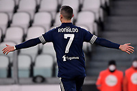Cristiano Ronaldo of Juventus FC celebrates after scoring the goal of 3-1 during the Serie A football match between Juventus FC and US Sassuolo Calcio at Allianz stadium in Torino (Italy), January 10th, 2021. Photo Federico Tardito / Insidefoto
