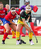 Tessa Jopp tackles Michaela Curtis (R). Falcons v Alpiners. Sentinel Homes Hockey Women's Premier League Waikato Hockey, Hamilton, New Zealand. Thursday 26 November 2020. Photo: Simon Watts/www.bwmedia.co.nz/HockeyNZ