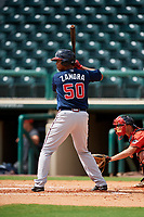 Atlanta Braves Christian Zamora (50) at bat during a Florida Instructional League game against the Canadian Junior National Team on October 9, 2018 at the ESPN Wide World of Sports Complex in Orlando, Florida.  (Mike Janes/Four Seam Images)