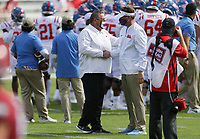 Arkansas head coach Sam Pittman shakes hands with Ole Miss head coach Lane Kiffin, Saturday, October 17, 2020 before the start of Arkansas' 33-21 win over Ole Miss at Donald W. Reynolds Razorback Stadium in Fayetteville. Check out nwaonline.com/201018Daily/ for today's photo gallery. <br /> (NWA Democrat-Gazette/Charlie Kaijo)