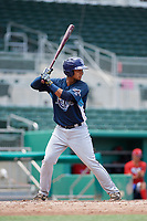 GCL Rays designated hitter Kevin Melendez (13) at bat during a game against the GCL Red Sox on August 1, 2018 at JetBlue Park in Fort Myers, Florida.  GCL Red Sox defeated GCL Rays 5-1 in a rain shortened game.  (Mike Janes/Four Seam Images)