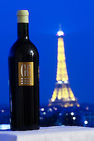 GC Grand Cru from Chateau du Cedre against a background in dark blue with a view over Paris and the Eiffel Tower illuminated Cahors Lot Valley France