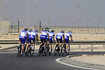 FDJ-BigMat team warms up before the 2nd Stage of the 2012 Tour of Qatar an 11.3km team time trial at Lusail Circuit, Doha, Qatar. 6th February 2012.<br /> (Photo Eoin Clarke/Newsfile)