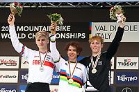 29th August 2021; Commezzadura, Trentino, Italy; 2021 Mountain Bike Cycling World Championships, Val di Sole; Downhill;  Downhill final, Junior Mens podium, Jackson GOLDSTONE  CAN, Jordan WILLIAMS GBR, Lachlan STEVENS-MCNAB NZL