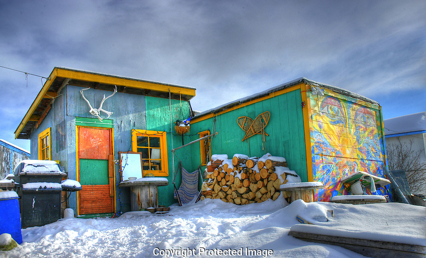 colourful shack in the Woodyard