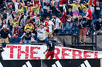 FOXBOROUGH, MA - JUNE 23: Gustavo Bou #7 of New England Revolution celebrates his goal during a game between New York Red Bulls and New England Revolution at Gillette Stadium on June 23, 2021 in Foxborough, Massachusetts.