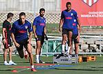 Atletico de Madrid's Santiago Arias, Diego Costa and Renan Lodi during training session. August 4,2020.(ALTERPHOTOS/Atletico de Madrid/Pool)