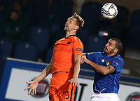 Football: Uefa Nations League Group A match Italy vs Netherlands at Gewiss stadium in Bergamo, on October 14, 2020.<br /> Italy's Ciro Immobile (l) in action with Netherlands' Frenkie de Jong (r) during the Uefa Nations League match between Italy and Netherlands at Gewiss stadium in Bergamo, on October 14, 2020. <br /> UPDATE IMAGES PRESS/Isabella Bonotto