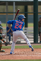 Chicago Cubs center fielder DJ Wilson (24) at bat during a Minor League Spring Training game against the Oakland Athletics at Sloan Park on March 13, 2018 in Mesa, Arizona. (Zachary Lucy/Four Seam Images)