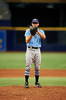 Nick Sprengel (25) looks in for the sign during the Tampa Bay Rays Instructional League Intrasquad World Series game on October 3, 2018 at the Tropicana Field in St. Petersburg, Florida.  (Mike Janes/Four Seam Images)