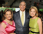 From left: Nancy and Jim Gordon with Christine Robertson at the Bayou Bend Garden Party Sunday April 25,2010.. (Dave Rossman Photo)