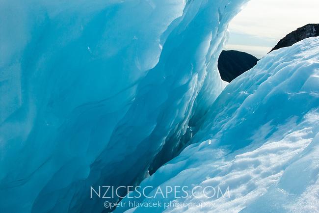 Blue ice crevasse on Franz Josef Glacier, Westland Tai Poutini National Park, West Coast, UNESCO World Heritage Area, New Zealand, NZ