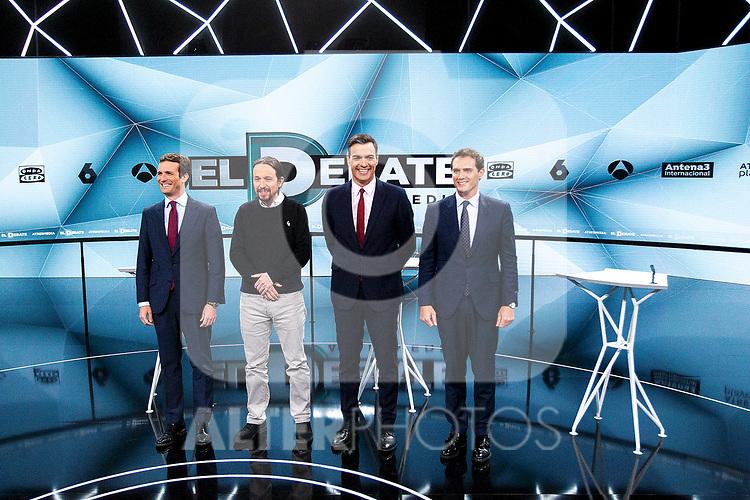 (L-R) Leader of Partido Popular Pablo Casado, leader of Unidas Podemos Pablo Iglesias, Prime Minister Pedro Sanchez and leader of Ciudadanos during the electoral debate organized by Atresmedia television network on April 22, 2019 in Madrid, Spain.(ALTERPHOTOS/Alconada).