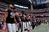 Houston, Texas<br /> October 2, 2011<br /> <br /> The Houston Texans football team listen to the national anthem before the game begins. <br /> <br /> The Houston Texans defeated the Pittsburgh Steelers at the Reliant Stadium 17 to 10.