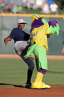 Mascot BirdZerk! is kicked while trying to get Beloit Snappers second baseman Reggie Williams #18 to dance during a game against the Great Lakes Loons at Dow Stadium on July 22, 2011 in Midland, Michigan.  Great Lakes defeated Beloit 5-2.  (Mike Janes/Four Seam Images)