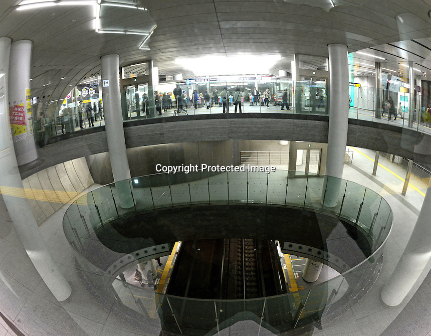 Shibuya underground station beneath Shibuya Hikarie, a new skyscraper in the Shibuya district of Central Tokyo, Japan.<br /> Apr-2014