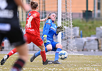 goalkeeper Ianthe Meerschaert (31) of Zulte-Waregem pictured in action during a female soccer game between FC Femina White Star Woluwe and SV Zulte Waregem on the fifth matchday of play off 2 in the 2020 - 2021 season of Belgian Scooore Womens Super League , Saturday 8 th of May 2021  in Woluwe , Belgium . PHOTO SPORTPIX.BE   SPP   DAVID CATRY
