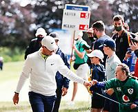 4th July 2021; Mount Juliet Golf Club, Kilkenny, Ireland; Dubai Duty Free Irish Open Golf, Day Four; Rory Mcilroy of Northern Ireland walking off the 9th green fisting a spectator