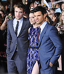 Robert Pattinson,Kristen Stewart and Taylor Lautner attends The Los Angeles premiere of Summit Entertainment's THE TWILIGHT SAGA: BREAKING DAWN PART 1 HELD AT Nokia Theatre at L.A. Live in Los Angeles, California on November 14,2011                                                                               © 2010 DVS / Hollywood Press Agency