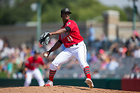 Billings Mustangs relief pitcher Cory Thompson (41) in action against the Missoula Osprey at Dehler Park on August 20, 2017 in Billings, Montana.  The Osprey defeated the Mustangs 6-4.  (Brian Westerholt/Four Seam Images)