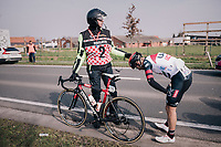 Marco Marcato (ITA/UAE-Emirates) after a crash<br /> <br /> 81st Gent-Wevelgem in Flanders Fields (1.UWT)<br /> Deinze > Wevelgem (251km)