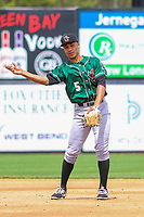 Great Lakes Loons second baseman Marcus Chiu (5) throws to first base between innings during a Midwest League game against the Wisconsin Timber Rattlers on May 12, 2018 at Fox Cities Stadium in Appleton, Wisconsin. Wisconsin defeated Great Lakes 3-1. (Brad Krause/Four Seam Images)