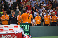 Switserland, Genève, September 18, 2015, Tennis,   Davis Cup, Switserland-Netherlands, Jesse Huta Galung (NED) thanks the team for their support<br /> Photo: Tennisimages/Henk Koster