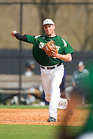 Third baseman Shane Basen #8 of the Charlotte 49ers makes a throw to first base against the Saint Peter's Peacocks at Robert and Mariam Hayes Stadium on February 18, 2012 in Charlotte, North Carolina.  Brian Westerholt / Four Seam Images