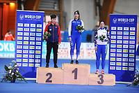 SPEEDSKATING: ERFURT: 20-01-2018, ISU World Cup, Podium 500m Ladies Division B, Nan  Sun (CHN), Elina Risku (FIN), Alexandra  Kachurkina (RUS), photo: Martin de Jong