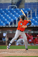 Miami Marlins catcher Keegan Fish (39) at bat during a Florida Instructional League game against the Washington Nationals on September 26, 2018 at the Marlins Park in Miami, Florida.  (Mike Janes/Four Seam Images)