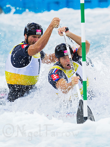 02 AUG 2012 - CHESHUNT, GBR - Pavol Hochschorner (SVK) (right) and Peter Hochschorner (SVK) (left) of Slovakia make their final run in the men's Canoe Double (C2) during the London 2012 Olympic Games final at Lee Valley White Water Centre, Cheshunt, Great Britain (PHOTO (C) 2012 NIGEL FARROW)