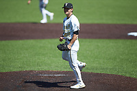 Vanderbilt Commodores starting pitcher Jack Leiter (22) reacts after striking out the final batter in his no-hitter against the South Carolina Gamecocks at Hawkins Field on March 20, 2021 in Nashville, Tennessee. (Brian Westerholt/Four Seam Images)