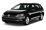 2018 Volkswagen Golf-Variant Comfortline 5 Door Wagon Angular Front stock photos of front three quarter view