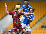 St Johnstone v Motherwell...22.08.15  SPFL   McDiarmid Park, Perth<br /> Murray Davidson and Simon Lappin clear from Louis Moult<br /> Picture by Graeme Hart.<br /> Copyright Perthshire Picture Agency<br /> Tel: 01738 623350  Mobile: 07990 594431