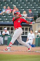 Springfield Cardinals outfielder Johan Mieses (41) connects on a pitch on May 16, 2019, at Arvest Ballpark in Springdale, Arkansas. (Jason Ivester/Four Seam Images)