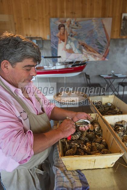 France, Gironde (33), Bassin d'Arcachon, Le Cap-Ferret,  Dégustation d'huîtres chez l'ostréiculteur, Cabane Degrave // France, Gironde, Bassin d'Arcachon, Le Cap Ferret, Oyster tasting at the oyster, Degrave hut