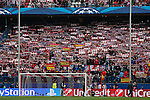 Atletico de Madrid's supporters holding scarfs before quarterfinal first leg Champions League soccer match at Vicente Calderon stadium in Madrid, Spain. April 14, 2015. (ALTERPHOTOS/Victor Blanco)
