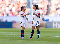 PARIS,  - JUNE 16: Mallory Pugh #2 talks to Christen Press #23 during a game between Chile and USWNT at Parc des Princes on June 16, 2019 in Paris, France.