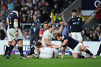 Joe Launchbury of England celebrates Billy Vunipola of England crossing the whitewash during the RBS 6 Nations match between England and Scotland at Twickenham Stadium on Saturday 11th March 2017 (Photo by Rob Munro/Stewart Communications)