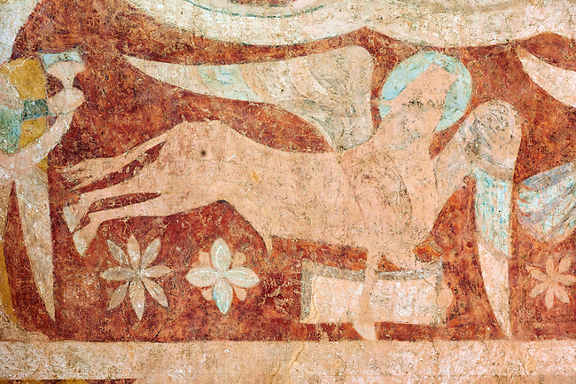Romanesque fresco of St Luke in the altar vault of the Norman Church of St Mary's Kempley Gloucestershire, England, Europe