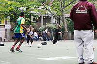 Players practice for the United States Homeless World Cup team in New York City on June 1, 2005.