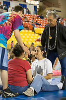 Ear pull  at the 2007 World Eskimo Indian Olympics, held in Anchorage, Alaska.