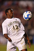 Wake Forest Demon Deacons midfielder Michael Lahoud (13) during an NCAA College Cup semi-final match at SAS Stadium in Cary, NC on December 14, 2007. Wake Forest defeated Virginia Tech 2-0.