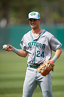 Daytona Tortugas Brantley Bell (24) warms up before a game against the Florida Fire Frogs on April 7, 2018 at Osceola County Stadium in Kissimmee, Florida.  Daytona defeated Florida 4-3 in a six inning rain shortened game.  (Mike Janes/Four Seam Images)