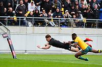 11th October 2020; Sky Stadium, Wellington, New Zealand;  All Blacks Jordie Barrett scores es a try. New Zealand All Blacks v Australia Wallabies, 1st Bledisloe Cup rugby union test match