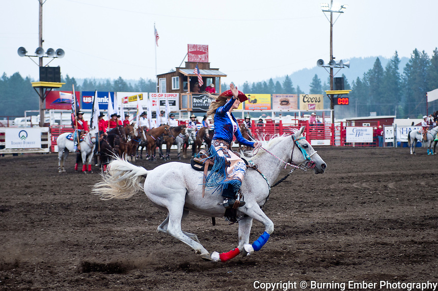 Miss Rodeo Idaho Buzzing the Arena at the Gem State Stampede August 25th, 2018 2nd perf in Couer D'Alene ID.  Photo by Josh Homer/Burning Ember Photography.  Photo credit must be given on all uses.